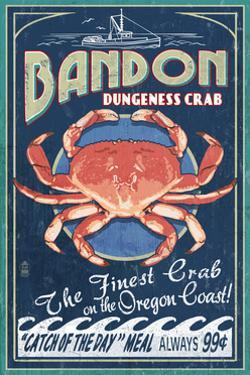 Bandon, Oregon - Dungeness Crab Vintage Sign by Lantern Press