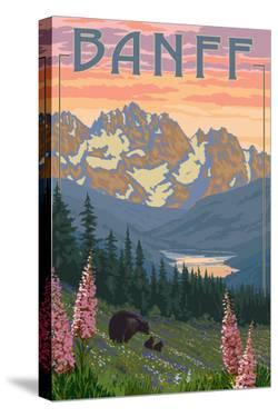 Banff, Alberta, Canada - Bears and Spring Flowers (with border) by Lantern Press