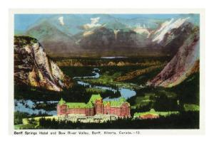 Banff, Alberta, Canada, Panoramic View of Banff Springs Hotel and Bow River Valley by Lantern Press