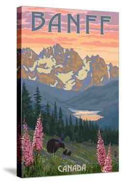 Banff, Canada - Bear and Spring Flowers by Lantern Press
