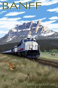 Banff, Canada - Castle Mountain Train Scene by Lantern Press