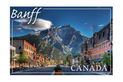 Banff, Canada - Downtown by Lantern Press