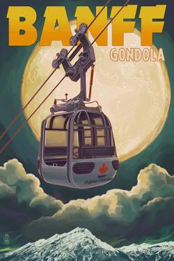 Banff, Canada - Gondola and Full Moon by Lantern Press