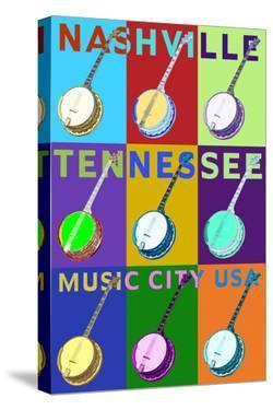Banjo Pop Art - Nashville, Tennessee by Lantern Press
