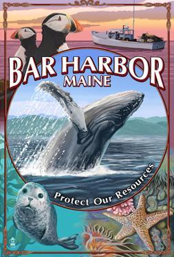 Bar Harbor, Maine - Wildlife Montage by Lantern Press