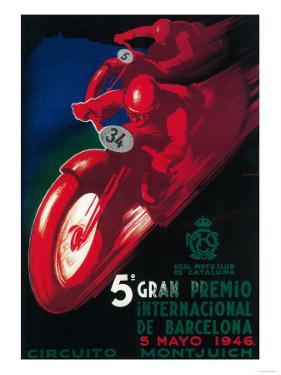 Barcelona, Spain - 5 Gran Premio International Motorcycle Poster by Lantern Press