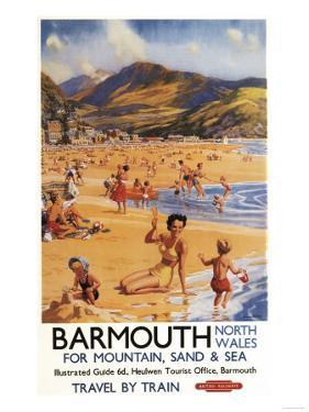 Barmouth, England - Beach Scene Mother and Kids British Rail Poster by Lantern Press