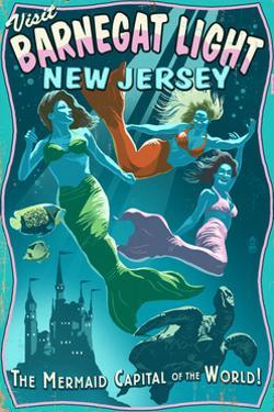 Barnegat Light, New Jersey - Mermaids Vintage Sign by Lantern Press