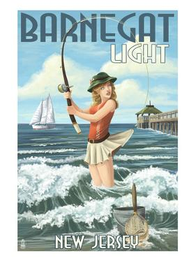 Barnegat Light, New Jersey - Pinup Girl Fishing by Lantern Press