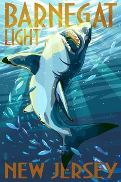 Barnegat Light, New Jersey - Stylized Shark by Lantern Press