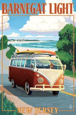 Barnegat Light, New Jersey - VW Van Coastal Drive by Lantern Press
