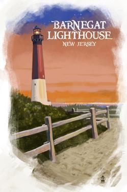Barnegat Lighthouse - New Jersey - Watercolor by Lantern Press