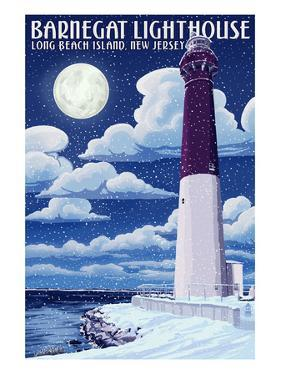 Barnegat Lighthouse - Snow Scene - New Jersey Shore by Lantern Press