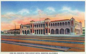 Barstow, California - Casa Del Desierto and Fred Harvey Hotel View by Lantern Press