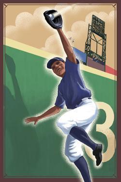 Baseball - Outfielder by Lantern Press