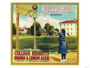 Basketball Orange Label - Claremont, CA by Lantern Press