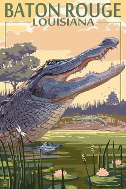 Baton Rouge, Louisiana - Alligator Scene by Lantern Press