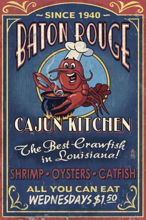 Baton Rouge, Louisiana - Cajun Kitchen Vintage Sign by Lantern Press