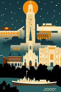 Baton Rouge, Louisiana - Retro Skyline (no text) by Lantern Press