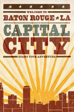 Baton Rouge, Louisiana - Skyline and Sunburst Screenprint Style by Lantern Press