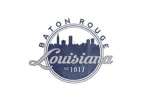 Baton Rouge, Louisiana - Skyline Seal (Blue) by Lantern Press