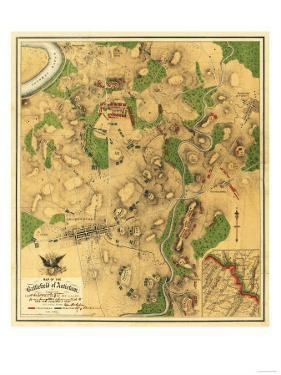 Battle of Antietam - Civil War Panoramic Map - Antietam, MD by Lantern Press