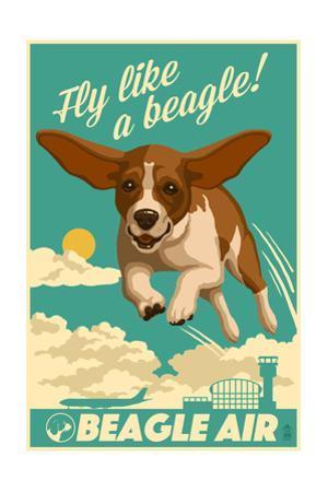 Beagle - Retro Aviation Ad by Lantern Press