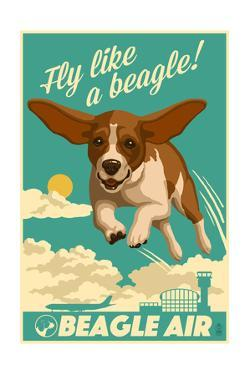 Beagle - Retro Aviation Ad by Lantern Press
