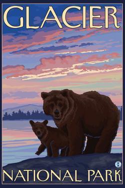 Bear and Cub, Glacier National Park, Montana by Lantern Press