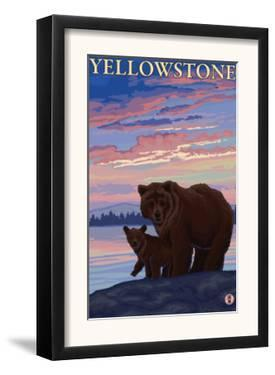 Bear and Cub, Yellowstone National Park by Lantern Press