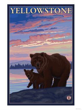 Bear and Cub, Yellowstone National Park by Lantern Press