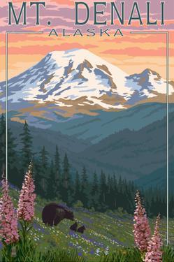 Bear and Cubs Spring Flowers - Mount Denali, Alaska by Lantern Press