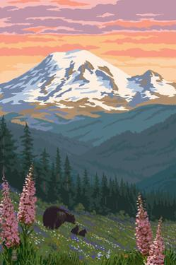 Bear Family and Spring Flowers (Rainier Background) by Lantern Press