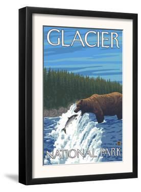 Bear Fishing in River, Glacier National Park, Montana by Lantern Press