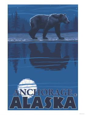 Bear in Moonlight, Anchorage, Alaska by Lantern Press
