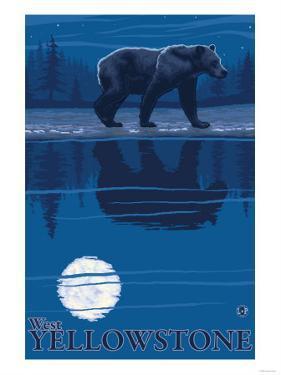 Bear in Moonlight, West Yellowstone, Montana by Lantern Press