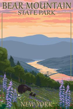Bear Mountain State Park, New York - Bears and Spring Flowers by Lantern Press
