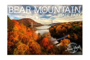 Bear Mountain State Park, New York - Bridge and Fall Foilage by Lantern Press