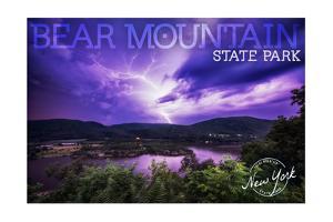 Bear Mountain State Park, New York - Purple Sky and Lightning by Lantern Press