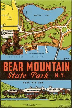 Bear Mountain State Park - Vintage Window Decal by Lantern Press