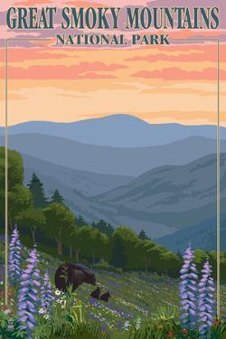 Bears and Spring Flowers - Great Smoky Mountains National Park, TN by Lantern Press
