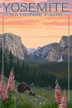 Bears and Spring Flowers - Yosemite National Park, California by Lantern Press