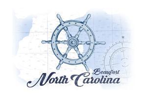 Beaufort, North Carolina - Ship Wheel - Blue - Coastal Icon by Lantern Press