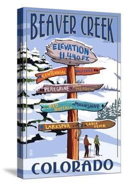 Beaver Creek, Colorado - Ski Signpost by Lantern Press