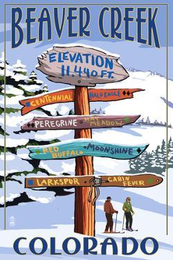 Beaver Creek, Colorado - Ski Signpost by Lantern Press