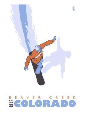 Beaver Creek, Colorado, Snowboard Stylized by Lantern Press
