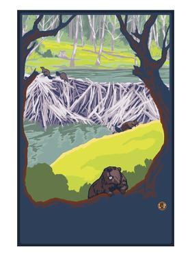 Beaver Family by Lantern Press