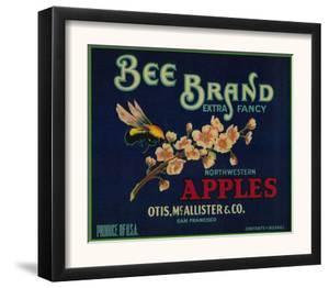 Bee Apple Crate Label - San Francisco, CA by Lantern Press
