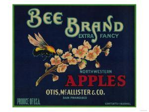 Bee Apple Crate Label - San Francisco, CA by Lantern Press