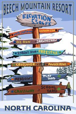 Beech Mountain, North Carolina - Ski Signpost by Lantern Press
